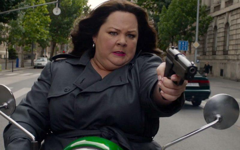 melissa mccarthy, spy, angry, motorbike, gun