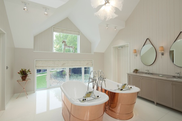coworth park, ascot, hotel, fairway suite, his and her bath, bathroom