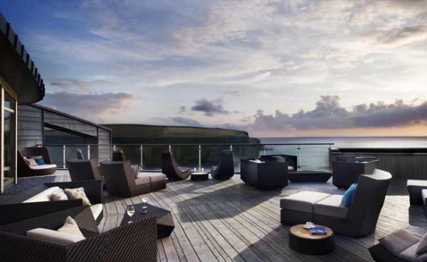 sea view terrace, scarlet hotel, spa, cornwall