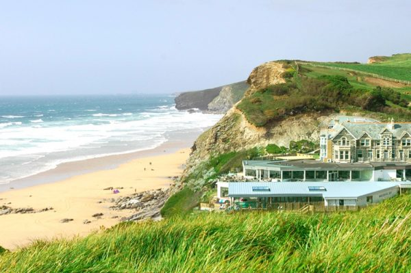 watergate bay, hotel, cornwall, sea, cliff