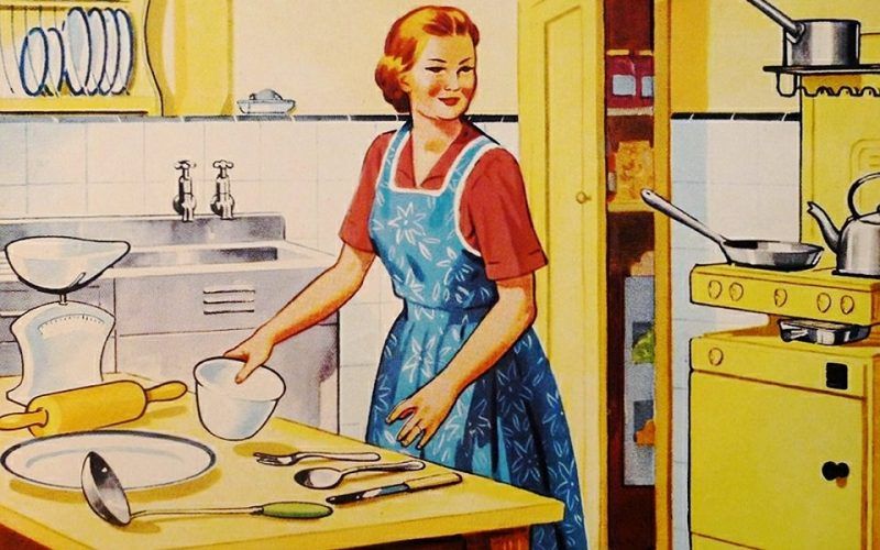 retro, vintage, woman, housewife, kitchen, cooking