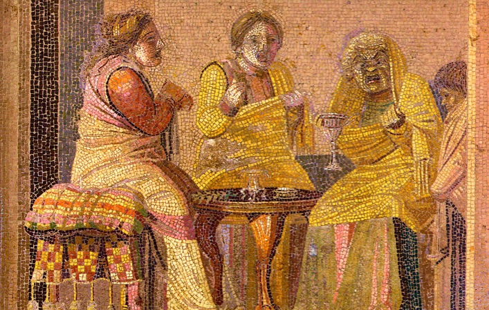 angry roman women, witch, mosaic, pompeii, curse tablets