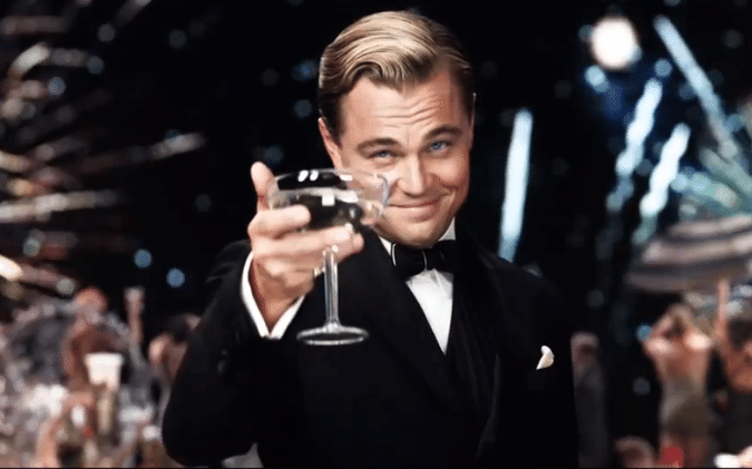 leonardo dicaprio, the great gatsby, champagne, toast, cheers, sexy