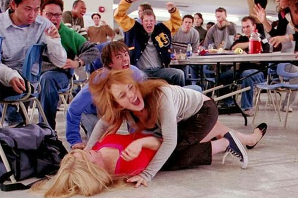 mean girls, fight scene, canteen, fighting, arguing, lindsay lohan, rachel mcadams, fantasy fights