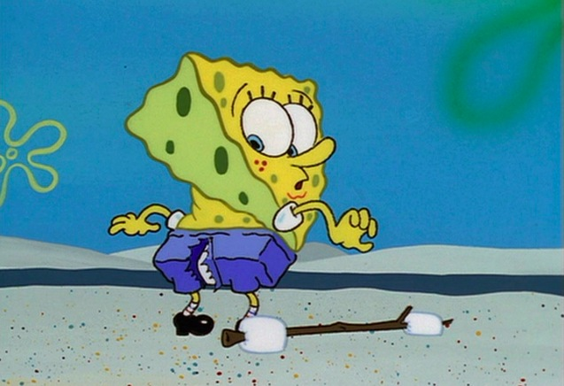 spongebob squarepants, nickelodeon, ripped pants, hole in trousers