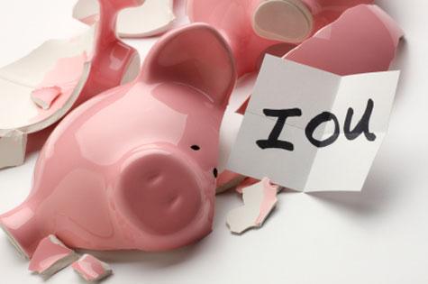 piggy bank, broke, poor, money worries, IOU, anxiety