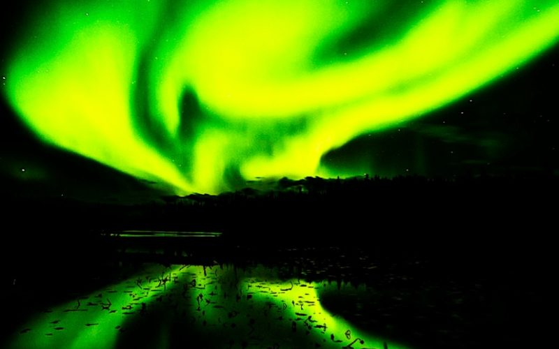 northern lights, neon yellow, aurora borealis