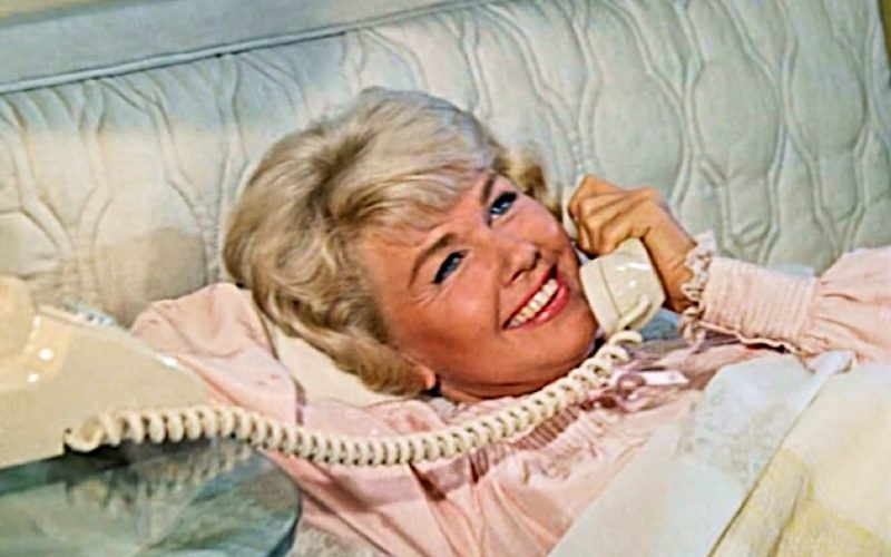 doris day, pillow talk, phone, conversation, talking, happy, bed