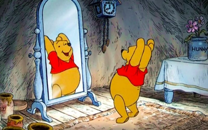 winnie the pooh, happy, mirror, reflection