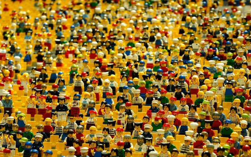 lego, dolls, amphitheatre, crowd, human beings