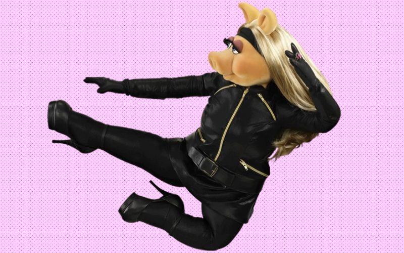 miss piggy, karate kick, jump, power, empowered