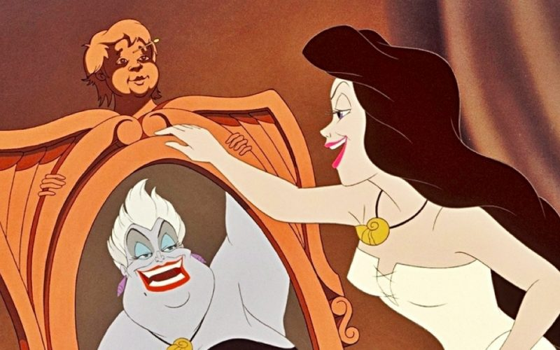 little mermaid, ursula, evil, mirror, reflection, ugly, bad mirror
