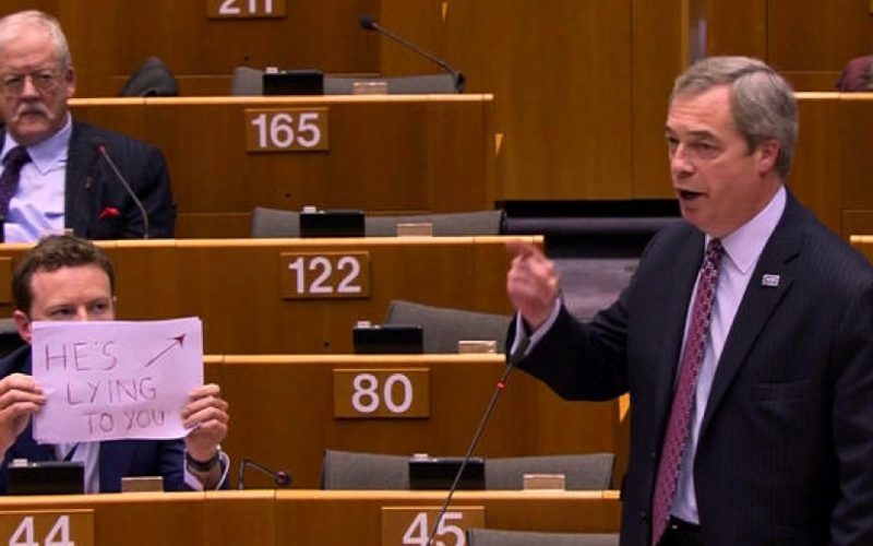 nigel farage, parliament, seb dance, screw it moment, he's lying to you, sign