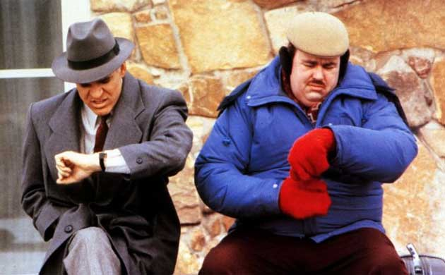 steve martin, john candy, late, looking at watch, planes trains automobiles