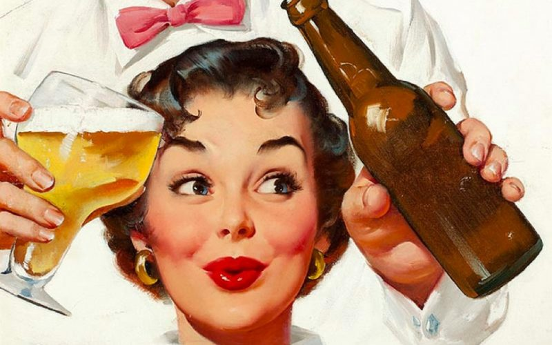 woman, drinking beer, vintage, ooh, alcohol, cartoon