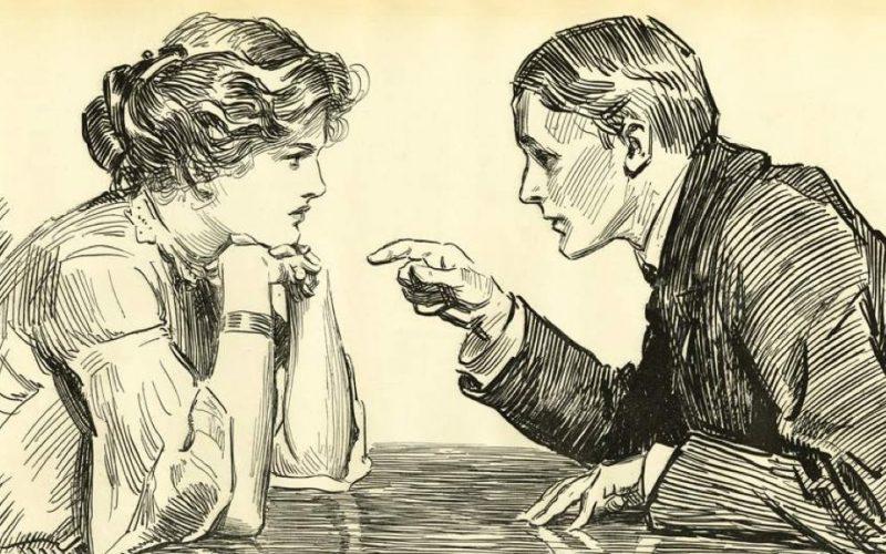 manterrupting, man interrupting, pointing at woman, sexist, chauvinist, manterruption