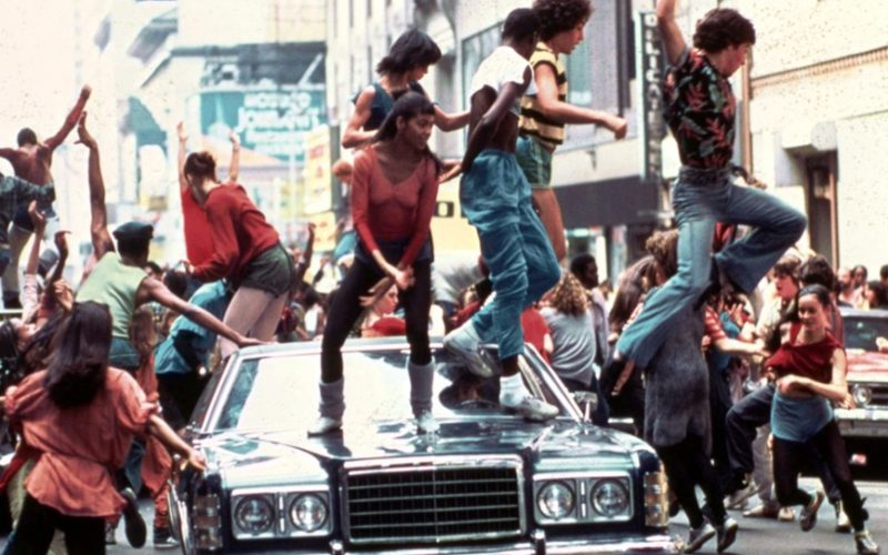 fame, dancing on cars, street scene, dance routines, never forget