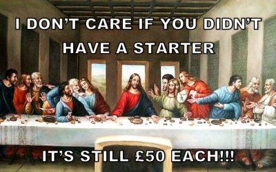 last supper, jesus, bill, splitting bill, bill politics, eating out, paying