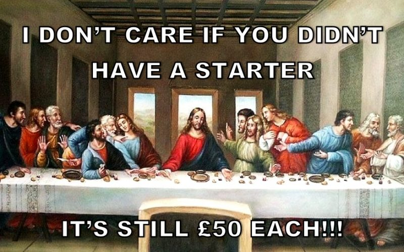 last supper, jesus, bill, splitting bill, bill politics, eating out, paying