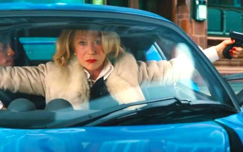 red 2, helen mirren, car, driving test, gun scene, driving, shooting