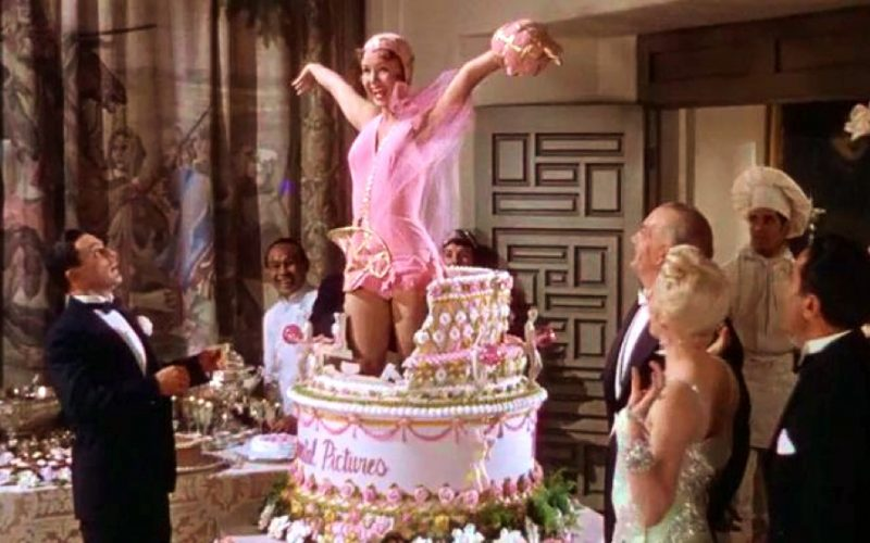debbie reynolds, cake, surprise, singing in the rain