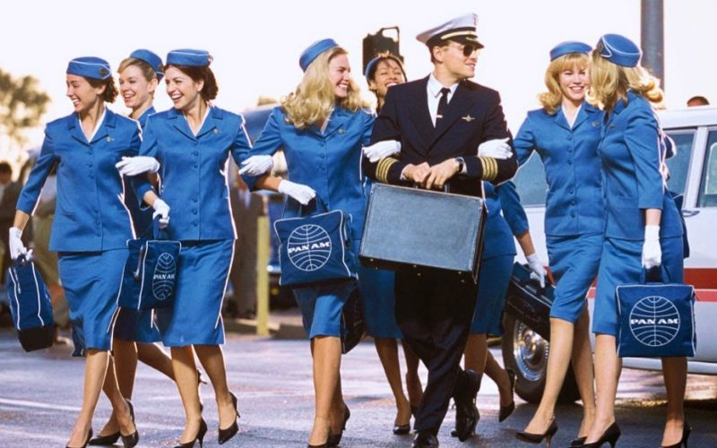 leonardo dicaprio, catch me if you can, airport, airport archetype, pilot, air stewardesses
