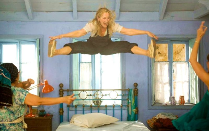 mamma mia, meryl streep, independent women, independent woman, jumping on bed, single, solo