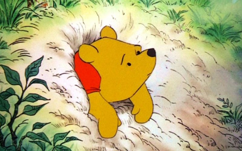 winnie the pooh, stuck in rabbit hole, leave the house, things we think, thoughts, worry, anxiety, panic