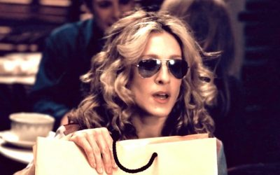 carrie bradshaw, sex and the city, shopping bag, healthy coping mechanisms