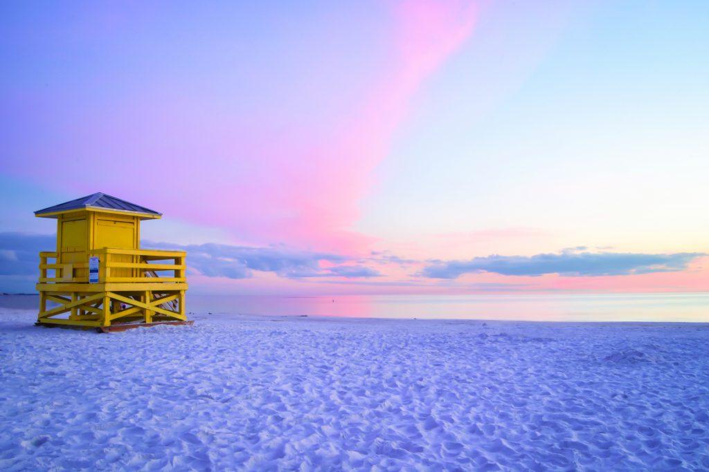 sarasota, lifeguard hut, florida, america as you like it, vacation, holiday, beach, winter sun