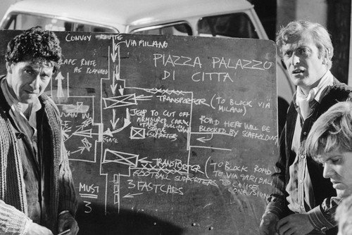 michael caine, italian job, planning, blackboard