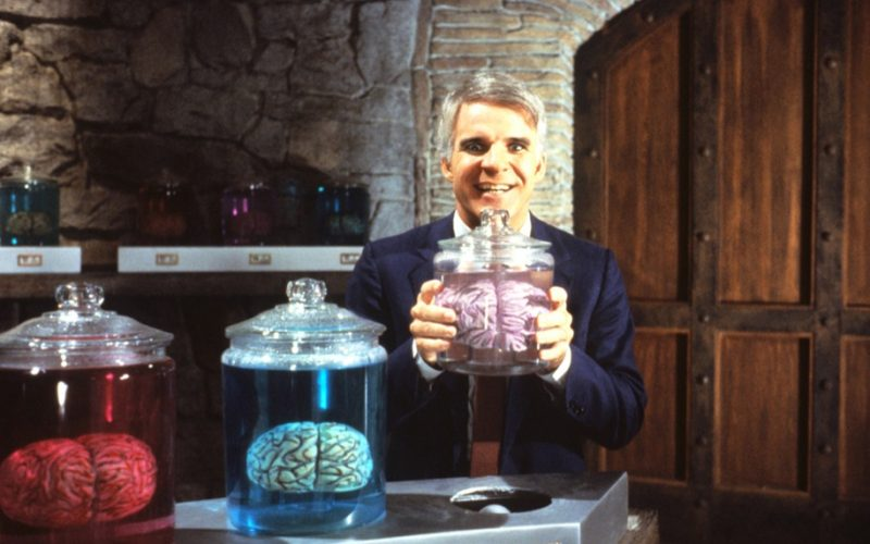 steve martin, man with two brains, head, brain, thoughts, memory, never forget