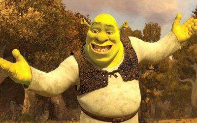shrek, forced smile, not grumpy, good mood, be happy