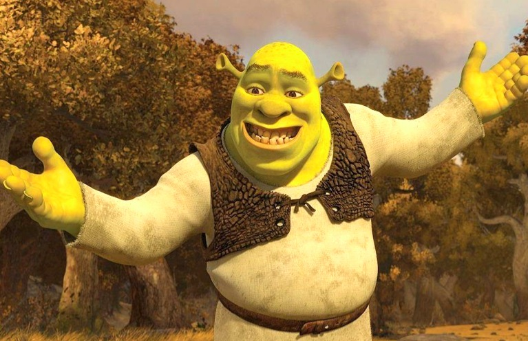 shrek, forced smile, not grumpy, good mood, be happy