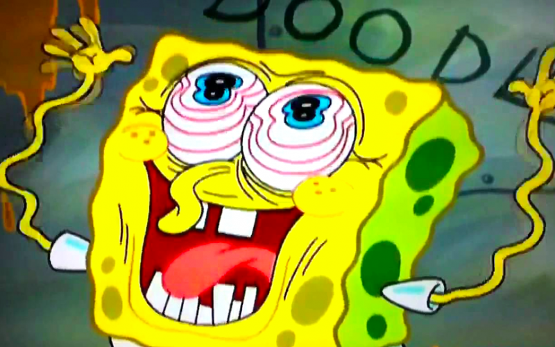 spongebob squarepants, too tired, so tired, deranged, exhausted