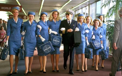 catch me if you can, leonardo dicaprio, pilot, air hostess, airport, anxiety, wandering thoughts