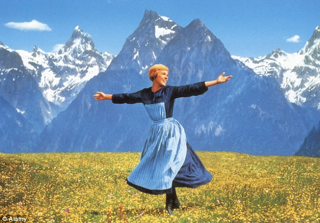 julie andrews, sound of music, hills, singing, happy, short hair, frolicking