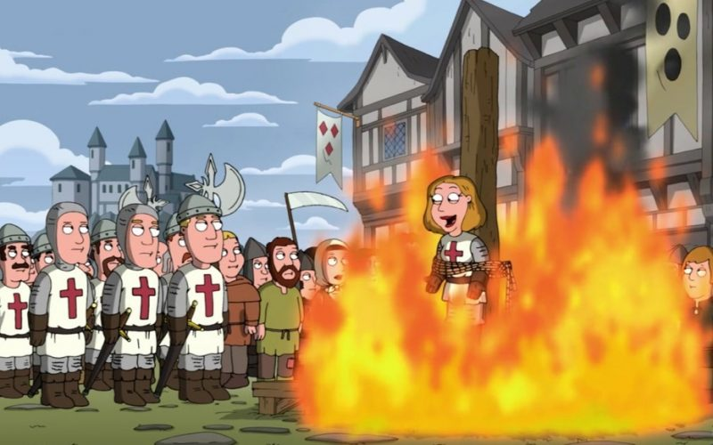 joan of arc, family guy, burned at the stake, fire, hot, medieval