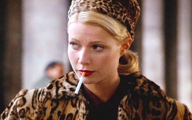 gwyneth paltrow, talented mr ripley, leopard print, leopard print coat and hat, smoking, cigarette