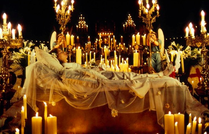 romeo and juliet, candles, bed, dead, sleeping, lighting, lamps