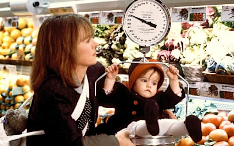 baby boom, film, weighing scales, baby, supermarket