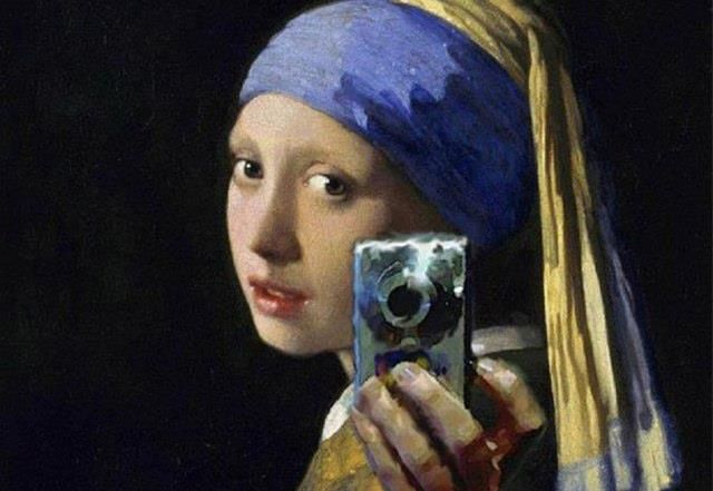 girl with pearl earring, painting, spoof, selfie, portrait, profile picture