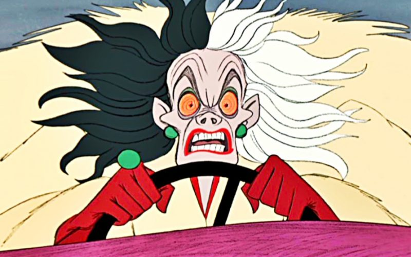 cruella deville, crazy, driving, anxiety, 101 dalmatians, disney