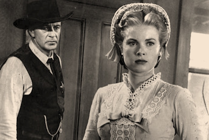 high noon, gary cooper, grace kelly, black and white film