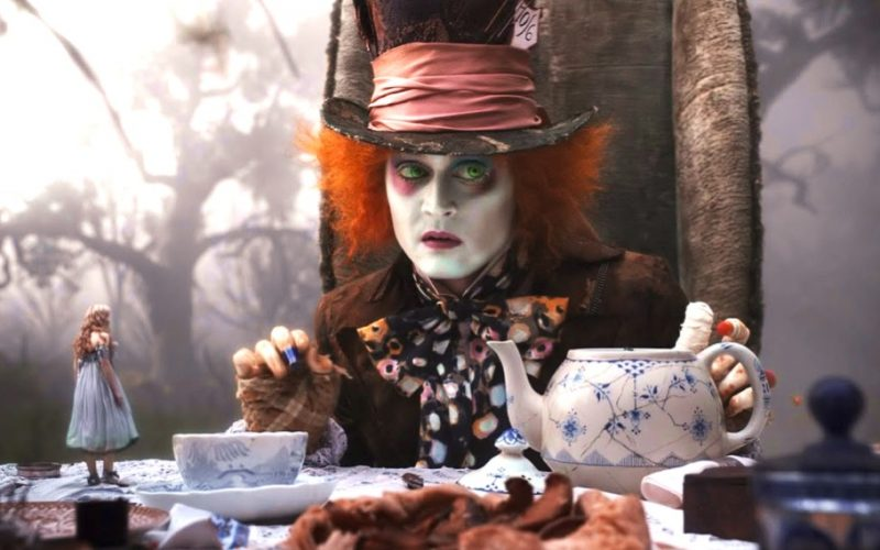johnny depp, mad hatter, tea party, alice in wonderland, tim burton