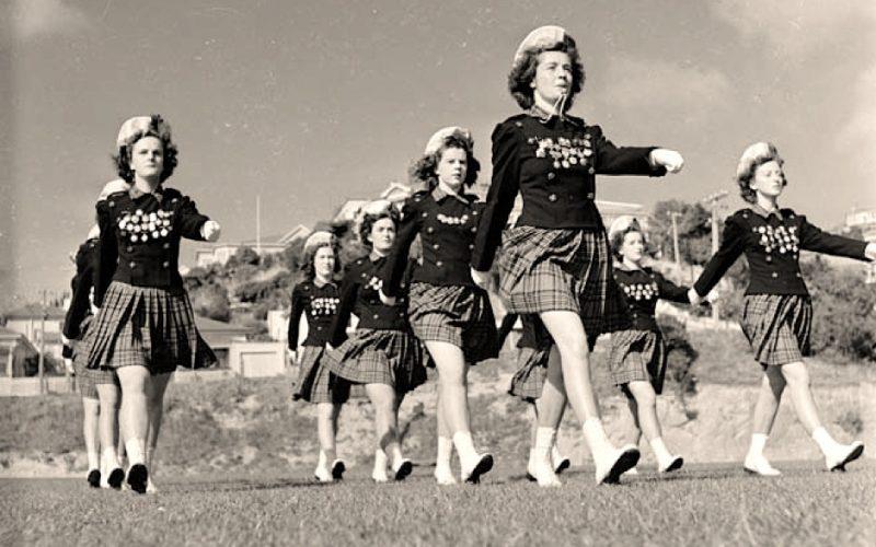 marching, cheerleaders, walking, girls, exercise