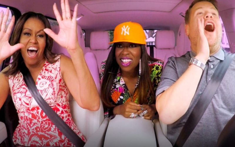 carpool karaoke, james corden, michelle obama, missy elliot, singing, song lyrics, misheard