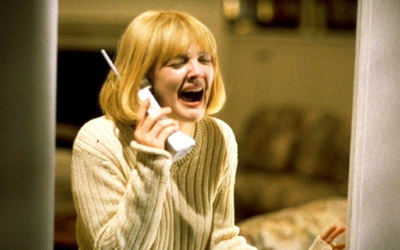 drew barrymore, scream, screaming, crying, movie, phone