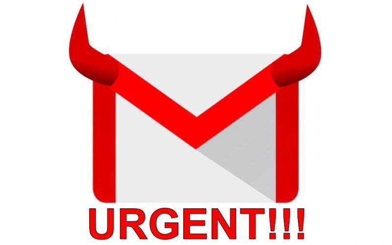 urgent email, gmail, evil, devil ears, bad emails