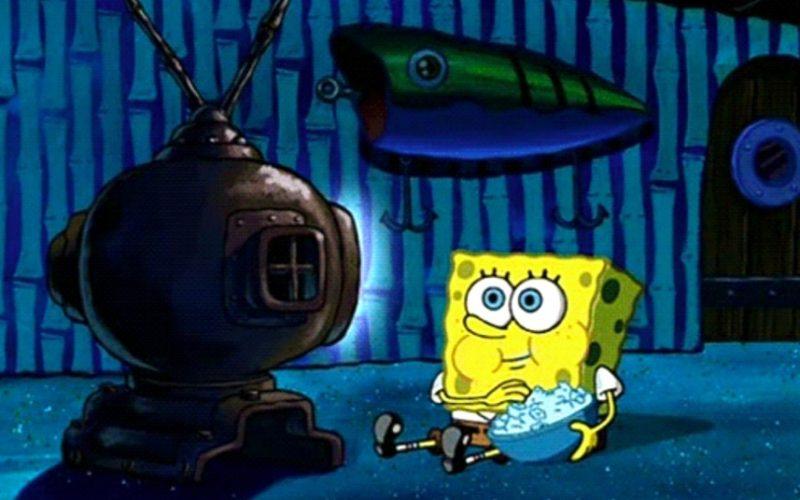 spongebob squarepants, watching tv alone, secret behaviour, bank holiday, bank holiday behaviour